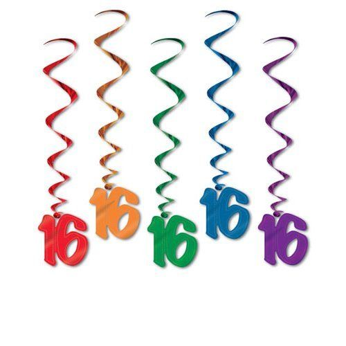 Pack of 5 16th Birthday Hanging Whirls - 91cm - Happy Birthday Party Decorations
