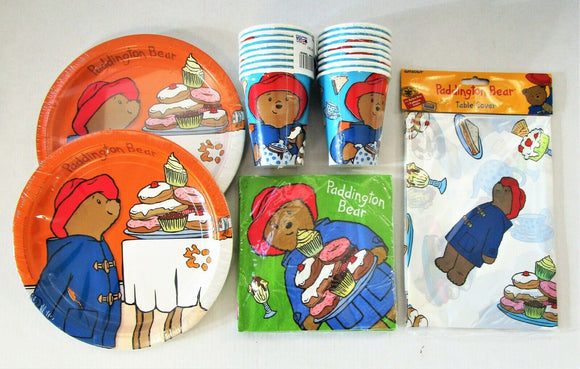 Paddington Bear Party Tableware pack for 16 - Plates Cups Napkins Table Cover