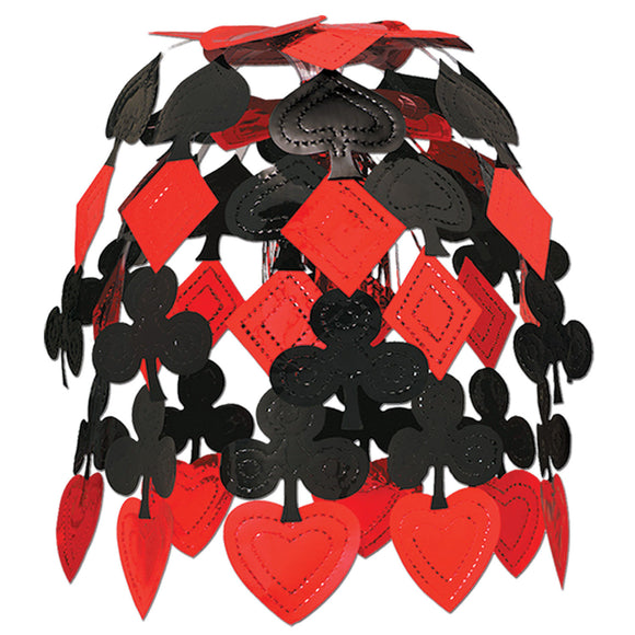 Red & Black Card Suit Hanging Cascade - 61 cm - Casino Ceiling Party Decorations