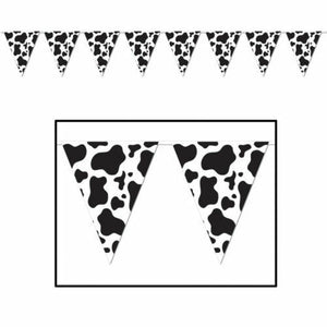 3.6m Western Cow Print Pennant Banner - Wild West & Cowboy Party Decorations