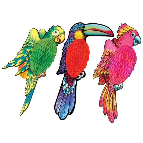 Pack of 3 Luau Exotic Tissue Bird Decorations 17'' - Tropical Party Supplies