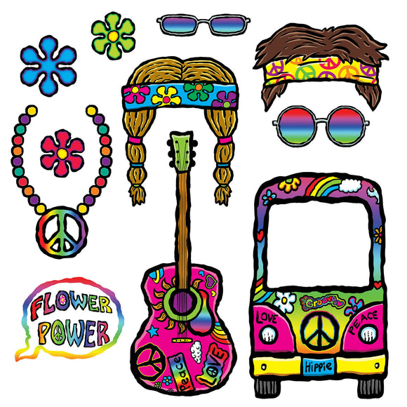 11 Piece Hippie Photo Fun Signs - 60's Photo Prop Cutouts Party Decorations