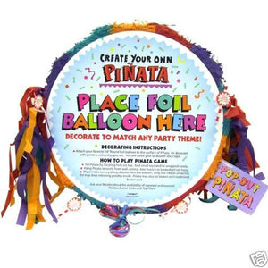 Multi Coloured Blank Pull Pinata 48cm - Kids Party Games - Birthday Activities