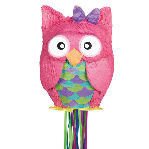 Pink Owl Pull String Pinata - Party Games - Animal parties - Fun Kids Activities