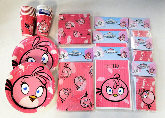 Pink Bird Party Tableware Pack For 16 People - Angry Birds Plates Cups etc