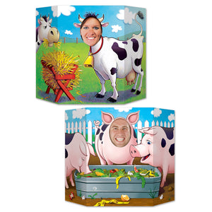 Barnyard Photo Prop - 94  x 64cm - Farmyard Animal Party Decoration - Pigs & Cow