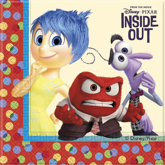 Pack of 20 Inside Out Luncheon Paper Napkins - Disney Party Tableware
