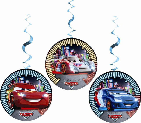 Neon Cars Pack of 3 Hanging Decorations - Disney Ceiling Decoration