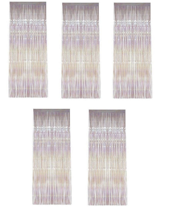 Pack of 5 Iridescent Shimmer Foil Door Curtains - Hanging Party decorations