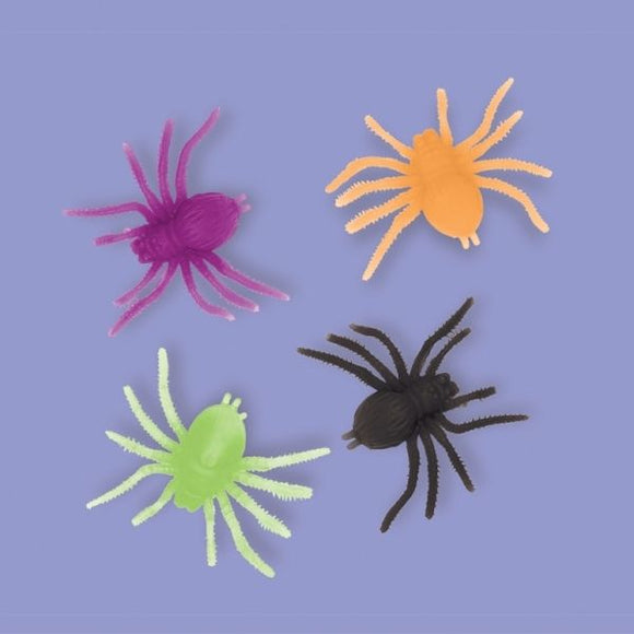 12 Neon Spiders Halloween Party Loot Favors - Kids Spider Toys Party Decorations
