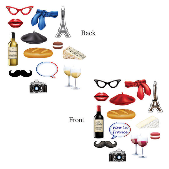 14 Piece French Photo Fun Signs - France Photo Prop Cutouts - Party Decorations