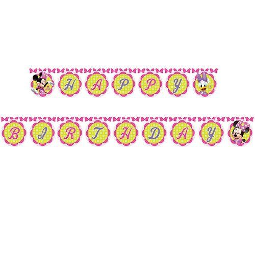 Disney Minnie Mouse Happy Birthday Letter Banner - Hanging Party Decorations