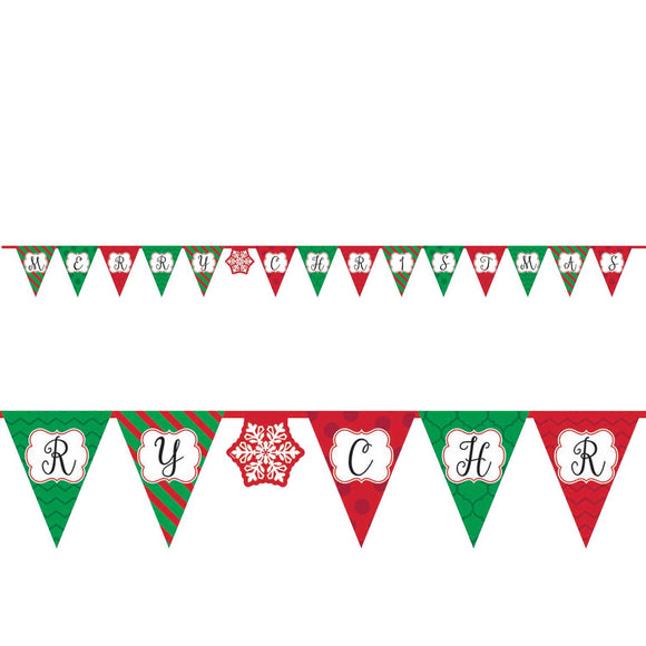 Red and Green Merry Christmas Pennant Banner - Hanging Party Decorations