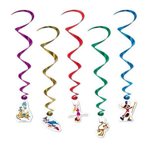 Pack of 5 Circus Hanging Whirls - 89 cm - Clown Party Ceiling Decorations