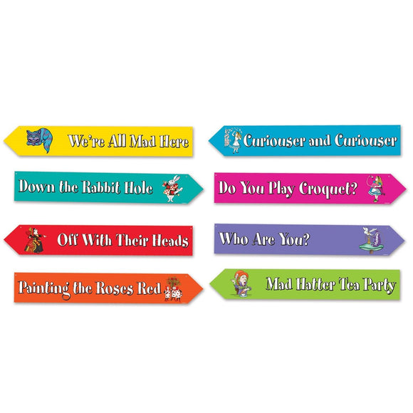 Pack of 4 Double sided Alice in Wonderland Street Signs - Party Decorations