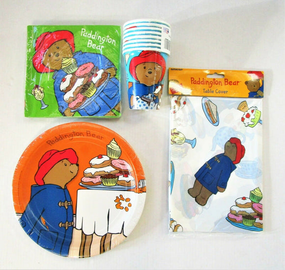 Paddington Bear Party Tableware pack for 8 - Plates Cups Napkins Table Cover