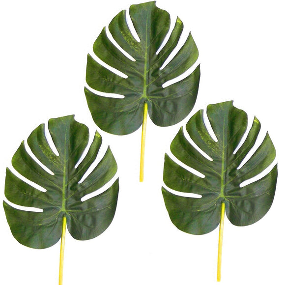 3 Large Artificial Monstera Leaves - 28cm -Tropical Green Swiss Cheese Plant