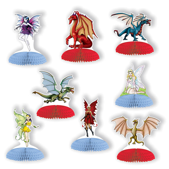 Pack of 8 Fantasy Mini Centerpiece - Dragon Party Table Decorations