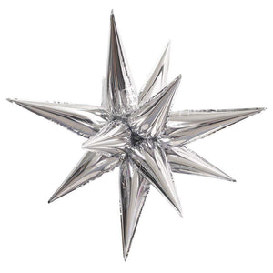 "Large 27"" Air Filled Silver Star 12 Piece Foil Balloon Set - Party Balloons"