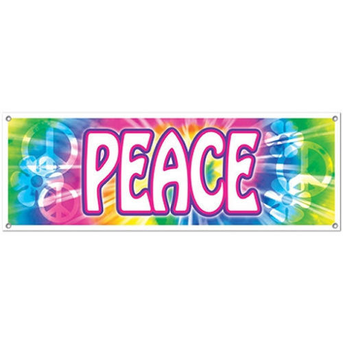 Peace Sign Banner - 5ft Long - 60's Retro Hippie Party Decorations - Hippy Party