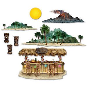 Tiki Bar and Island Decorations - Tropical Party - 8 Scene Setter Add Ons