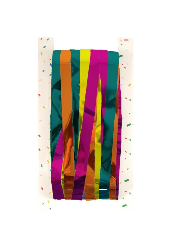 Pack of 100 Multi Coloured Shimmer Foil Door Curtains - Hanging Party Decoration