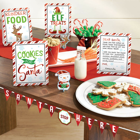 8 Piece Cookies For Santa Buffet Decorating Kit - Xmas Party Decorations