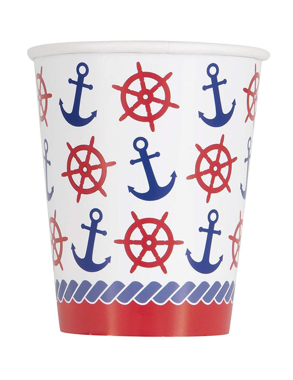 Pack of 8 Nautical 270ml Paper Cups - Party Tableware