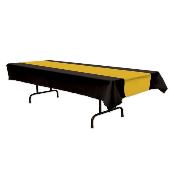 Black & Gold Plastic Tablecover - 137 cm x 274 cm - Hollywood Party Table Cover