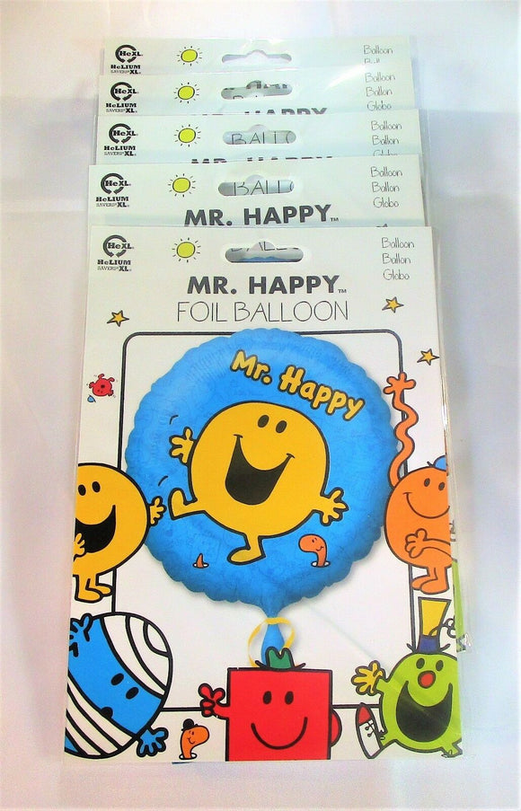 Pack of 5 MR Happy Foil Balloons - 43 cm - Kids Party Helium Balloon