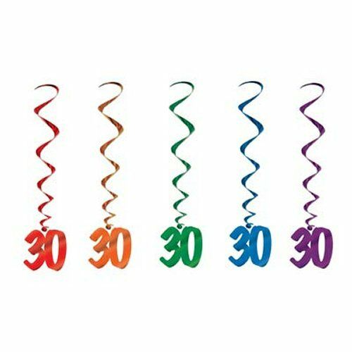 Pack of 5 30th Birthday Hanging Whirls - 91cm - Happy Birthday Party Decorations