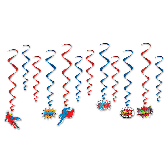 Pack of 12 Hero Hanging Whirls Ceiling Decoration 43 x 81cm - Comic Hero's Party