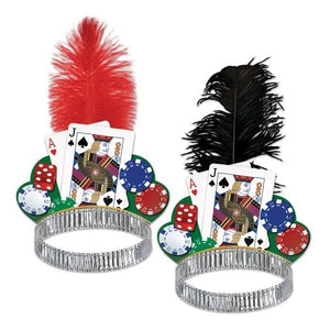 Pack of 2 Casino Night Tiaras - Red and Black - Casino Night Fancy Dress