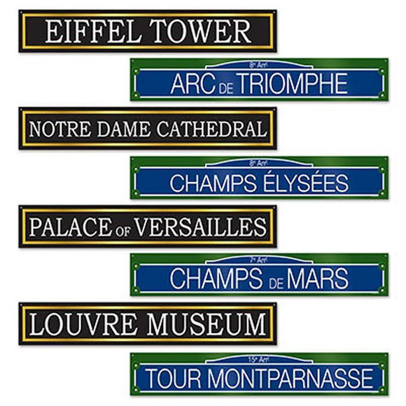 4 Double Sided Famous French Monument Street Signs - France Party Decorations
