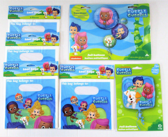 Bubble Guppies Party Table Decorations Pack - Party Bags and Balloons