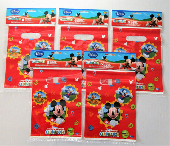 Pack of 30 Disney Mickey Mouse Clubhouse Plastic Party Bags - Party Favour Bag