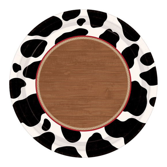 Pack of 8 Western Cow Print Paper Plates - 17.8 cm - Wild West Party Tableware