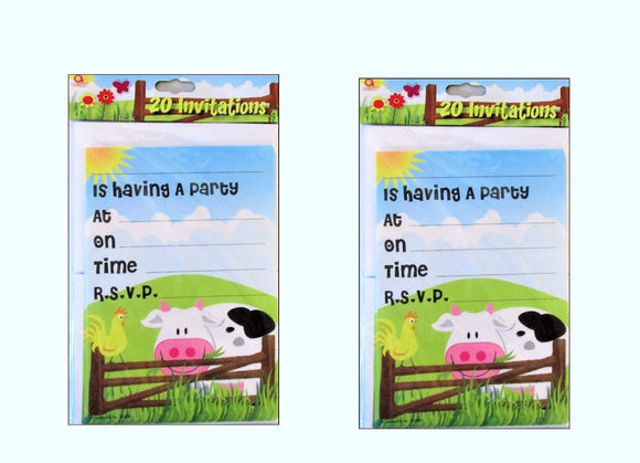 Pack of 40 On The Farm Invitations and Envelopes - Animal Party Invites