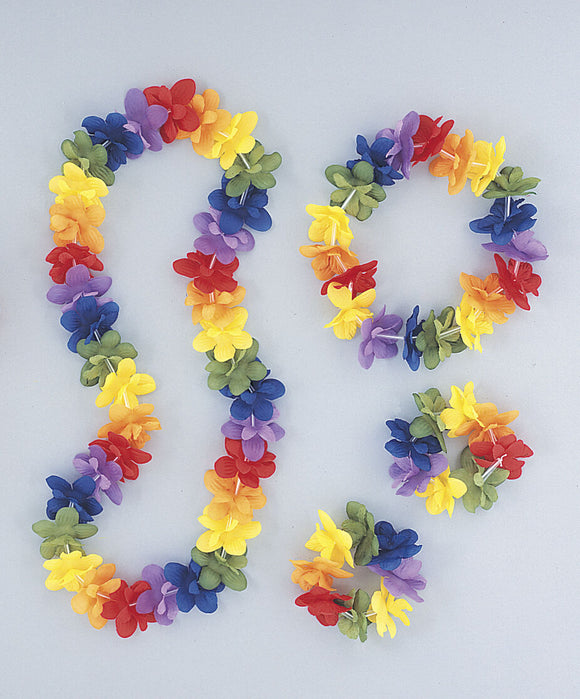 Tropical Luau Hawaiian Multicolour Lei Set - Fabric Lei Headband and 2 Bracelets