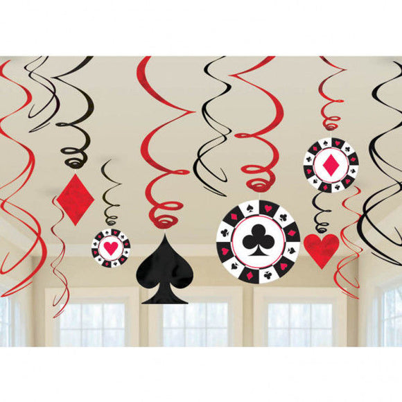 Pack of 12 Casino Hanging Swirls Decorations - casino party - poker cards suits