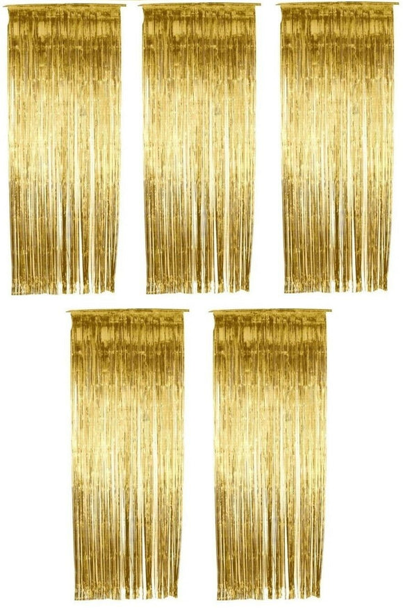 Pack of 5 Gold Shimmer Foil Door Curtain decorations - Christmas Party Curtains