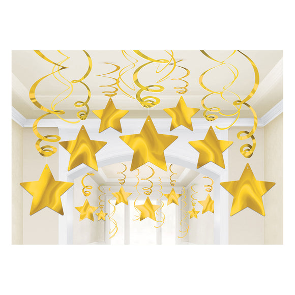 30 Sunshine Yellow Shooting Star Hanging Swirl - Mega Value Party Decorations