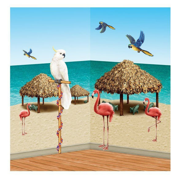 9 Tiki Hut and Tropical Bird Wall Decorations - Luau Tropical Party Scene Setter