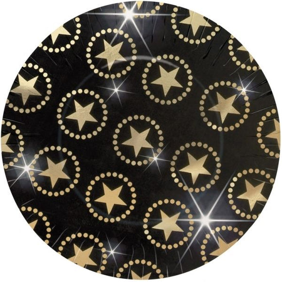 Gold Star Large Paper Plates - 27 cm - Hollywood Movie Night Party Tableware