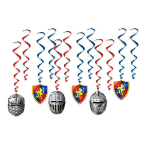 12 Piece Medieval Knights Whirls - Shield Crest Hanging Party Decorations