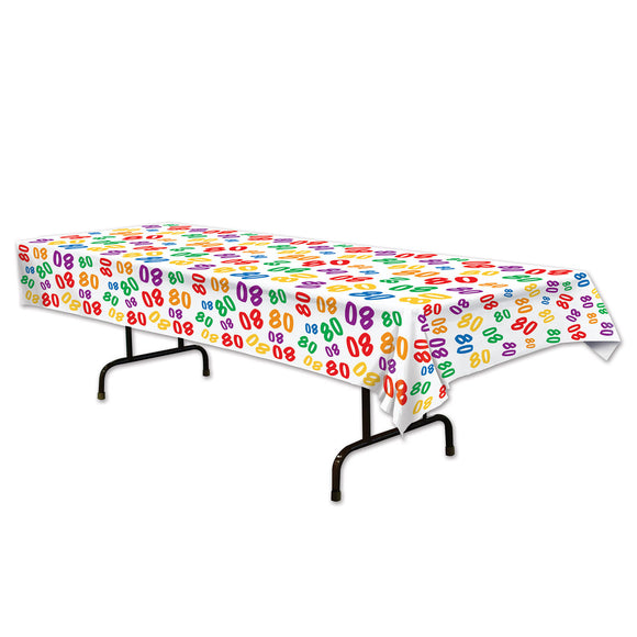 80th Celebration Plastic Table Cover - 137 x 274 cm - Birthday Party Tableware