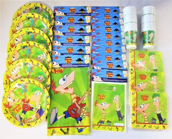 Phineas & Ferb Party Pack for 60 Children - Disney Tableware And Decorations Kit