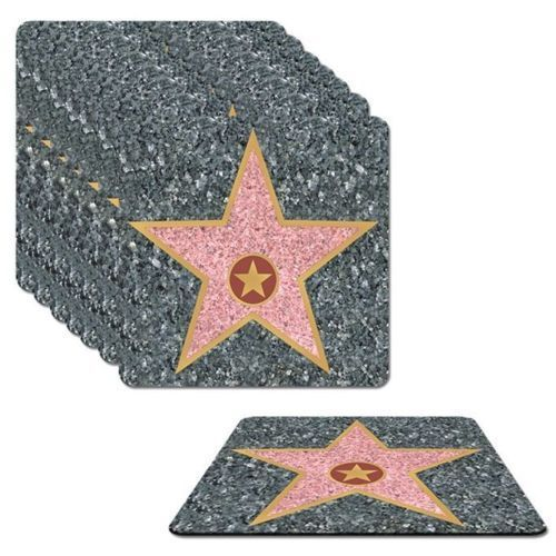 Pack of 8 Hollywood Star Coasters - 8.5 x 8.5 cm - Hollywood Party Drink Mat