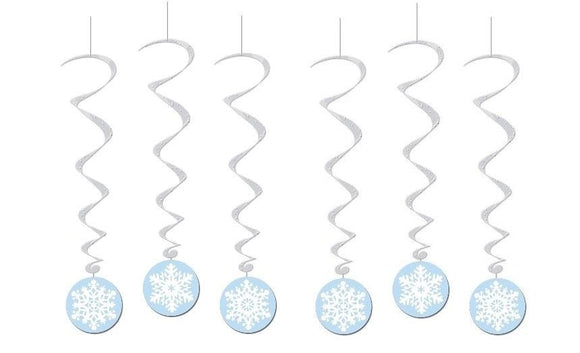 Pack of 6 Snowflake Whirls Hanging Decorations - Christmas Decoration