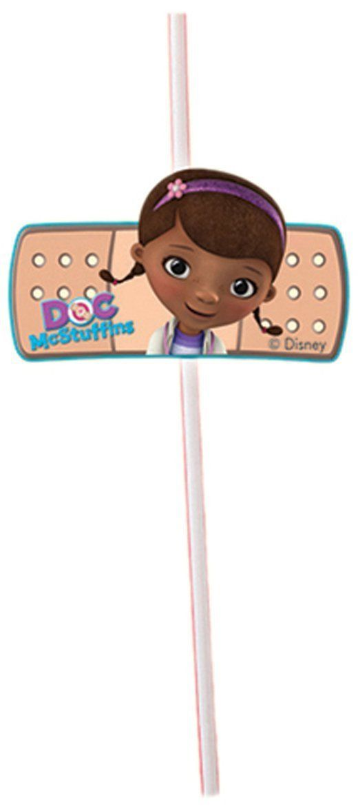 Pack of 6 Doc McStuffins Straws with Cutouts - Disney Party Tableware